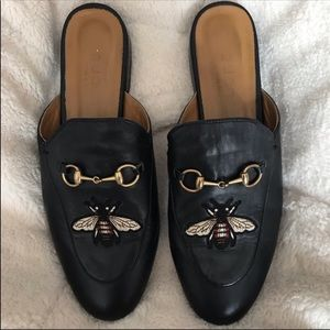 Gucci authentic horsebit black embroidered mules